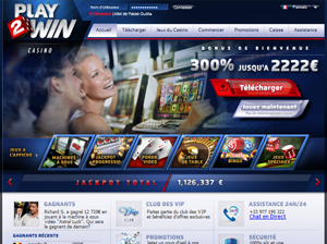 page d'accueil du site de play2win casino